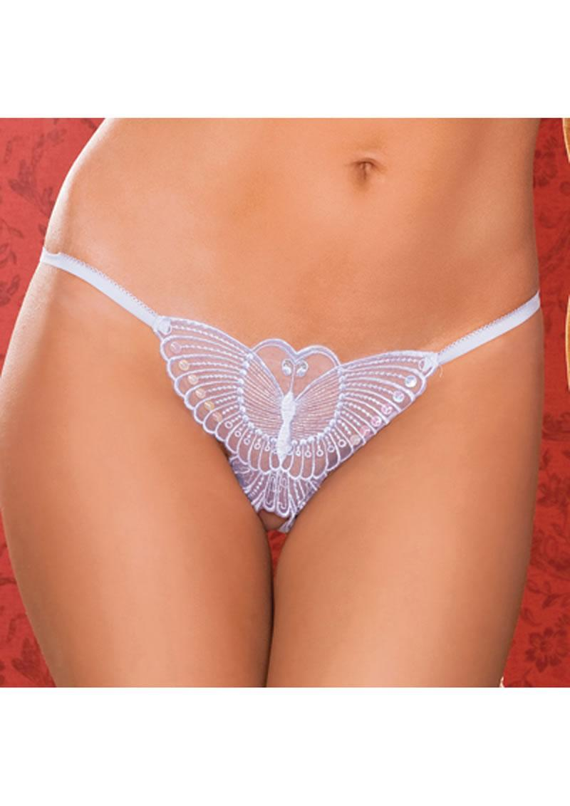 Madame Butterfly Thong - White - O/s